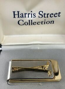 Vintage Golf Clubs Ball Money Clip Brushed Nickel Polished Yellow Gold Plated