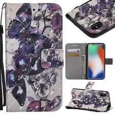 butterfly 3D wallet Leather case skin strap for iphone X 8 7 Samsung S8 S8P LG