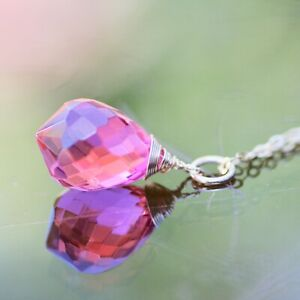 Pink Topaz Briolette Pendant in 14K Yellow Gold Filled , Wire Wrapped , October