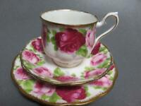 OLD ENGLISH ROSE ROYAL ALBERT CUP & SAUCER TRIO 1950'S