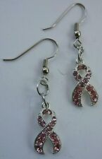 Pink Ribbon Awareness Crystal Earrings