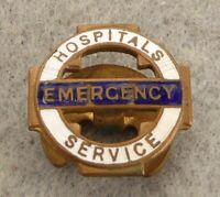 Vintage button hole badge, Hospitals Emergency Service, enamel, fair condition.