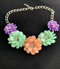 "Siver Tone 20"" with Extender Purple, Mint & Coral Colored & Rhinestone Necklace"