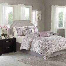New Queen Size Gabby 7 Piece Comforter Set Cotton, Eclectic Purple Madison Park