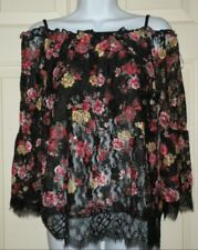 New Juniors 2XL 19 Black Floral Lace Peasant Top Shirt Off Shoulder Pretty!