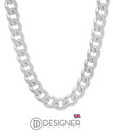 """8mm Silver Mens Curb Chain Necklace Sterling 925 18 """" Inch Womens Boys Unisex"""