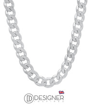 "8mm Silver Mens Curb Chain Necklace Sterling 925 18 "" Inch Womens Boys Unisex"