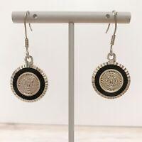Sterling Mayan Aztec Calendar Earrings 925 Silver Mexico Disc Sun Pierced Hook