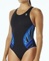 TYR Women's 244981 Black Blue Phoenix Splice Maxfit One Piece Swimsuit Size 30