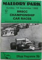 MALLORY PARK 18 Sep 1988 BRSCC CHAMPIONSHIP Car Races Official Programme
