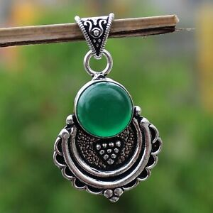 925 Sterling Silver Plated Green Onyx Handmade Pendant Jewelry DP20-111