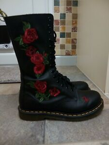 Dr Martens Vonda Boots Size 8, Black Leather With Red Rose Embroidery VGC