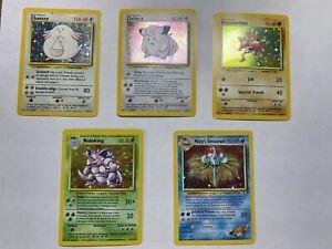 pokemon cards base set holo lot Spanish nidoking, hitmonchan, played condition