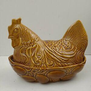 Large Chicken Hen Egg Holder Basket and eggs design ceramic vintage