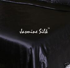 Jasmine Silk 3PCs 100% Charmeuse Silk Duvet Cover Set Black - King