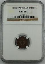 1876-B Switzerland 1 Rappen, NGC AU-58 BN, Swiss Coin