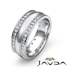Round Diamond 8mm Men Eternity Wedding Band 18k White Gold 2 Row Pave Ring 1.9Ct