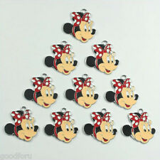Lot 10pcs Minnie Mouse Red Bow Metal Charm Pendants for Craft DIY Jewerly Making