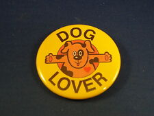 """Lot of 3 Buttons """"Dog Lover"""" pins pinbacks 2 1/4"""" badges awards Flea Market Sale"""