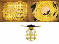 50 ft. Temporary Lighting String Work Light Commercial Heavy Duty Bulb Cage 14/2