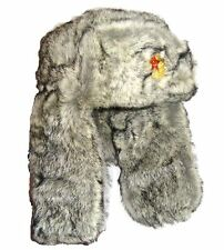 Winter Fur Cossack Hat USSR Soviet Military Badge Mens L-xl Grey Trapper Ushanka