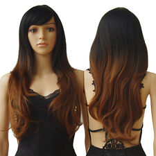 Wigs Women Long Wavy Curly Straight Ombre Synthetic Full Wig Brown Blonde Red #u