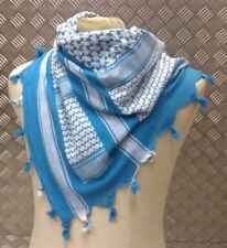 100% Cotton Shemagh / Arab Scarf / Pashmina / Wrap / Sarong. White & Blue - NEW