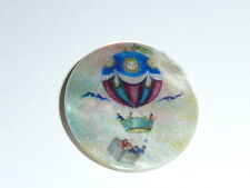 """Hot Air Balloon Button on Mother of Pearl MOP Shank Button 1+3/8"""""""