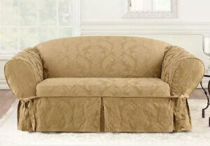 Sure Fit ONE PIECE TOFFEE Floral LOVESEAT Slipcover MATELASSE DAMASK NEW