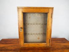 "Antique Pine Wooden Ships Key Box Cabinet Glass Front 36 Keys ""Edinburgh Castle"""