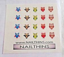 ">>> 80 <<< Owl Nail Decals; 5 different designs; 3/8"" X 3/8"" by Nailthins"
