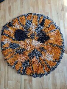"Mid century 70s retro vintage shaggy rug orange brown 60s mcm round 45"""