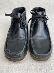 Clarks Originals Wallabee Mens Crepe Sole Black Leather Boots 8 M Shoes Lace-Up