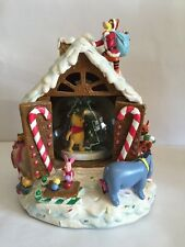 Disney Xmas Winnie The Pooh Musical Snow Globe Gingerbread House