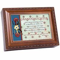 Granddaughter Woodgrain Inspirational Traditional Music Box Plays Jesus Loves Me