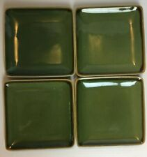 """Crate and Barrel Set four Square Small Green Dessert Snack/Salad Plate 5 3/4"""""""