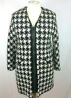 Ladies Zara Mid Length Black & White Wool Coat Dogtooth Pattern Size Large