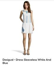 Desigual - Dress Sleeveless White And Blue - UK 18 - ES 46