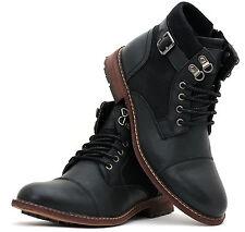 Mens Ankle Casual Chelsea Biker Zip Buckle Lace Up Boots Shoe Size 6 7 8 9 10 11
