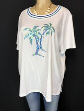 Alfred Dunner White Sequence Palm Trees Tee Shirt Women Plus 1X Short Sleeve Top