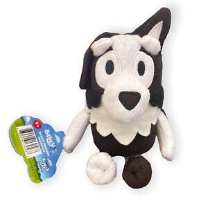 "Bluey Friends Mackenzie 8"" Plush Black and White Dog Stuffed Animal NWT"