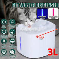Automatic 3L Pet Water Feeder LED Cat Dog Water Drinking Bowl  Dispenser