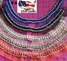 Tulle Black Royal Neon Coral beaded Pearl Rhinestone Applique Collar Neckline A2