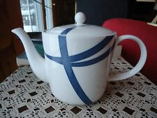 Royal Doulton China Teapot Monique Lhuillier 'Ribbons' w/ Navy blue stripe 2008