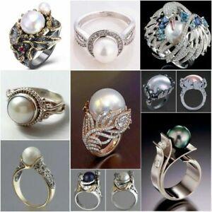 Fashion White Pearl Women Wedding Anniversary Ring 925 Silver Jewelry Size 5-12