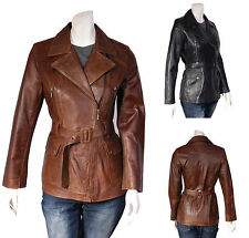 Hip Length Leather Biker Jackets for Women
