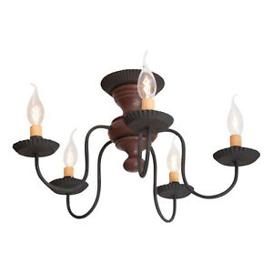 Irvin's Country Tinware Thorndale Ceiling Light in Americana Red