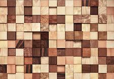 Komar Foto Mural Papel pintado 8-978 lumbercheck MADERA Cubo Crema Marrón 368 x
