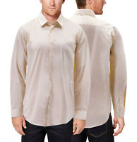 Men's Cream Long Sleeve Button Up  Solid Color Slim Fit Classic Dress Shirt