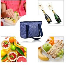 Jumbo Blue Tote Lunch Bag Fun Cooler Picnic Beach Handbag Ice Stylish Summer AU
